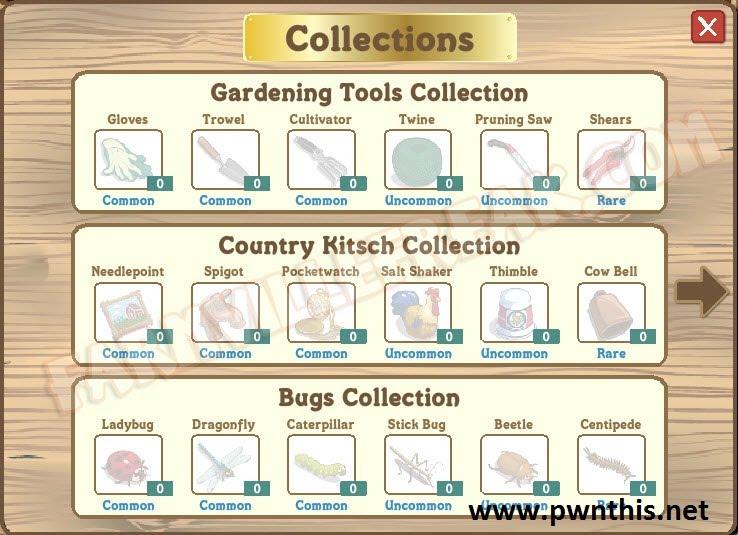 Farmville collectables facebook cheats for Gardening tools 94 cheats